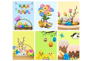 Easter Festive Cartoon Vector Concepts Collection