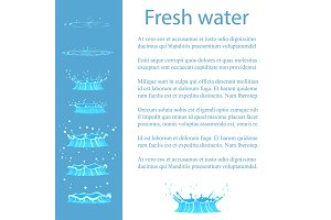 Fresh Water Advert Banner with Text, Geizer Set