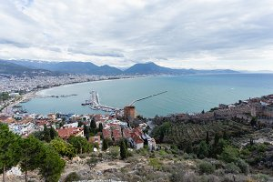 Panorama of Alanya Mediterranean town of Turkey showing sea moun