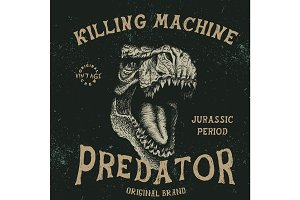 Vintage label with tyrannosaur