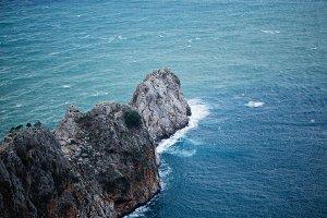 Steep slopes of cape Jilvarda southern part of Alanya castle rock