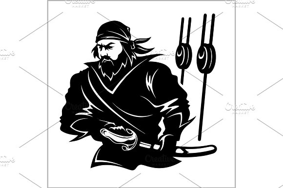 Attacking Pirate Black And White Vector Illustration