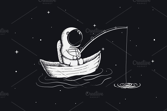 Astronaut Fisherman Is Fishing In Space