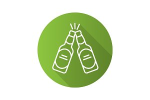 Toasting beer bottles. Flat linear long shadow icon