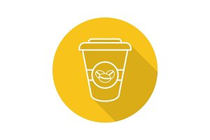 Takeaway coffee cup. Flat linear long shadow icon