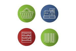 Supermarket flat linear long shadow icons set