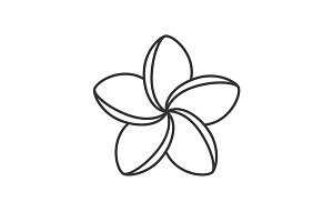 Spa salon plumeria flower linear icon
