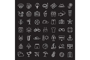 Summer chalk icons set