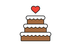 Wedding cake color icon