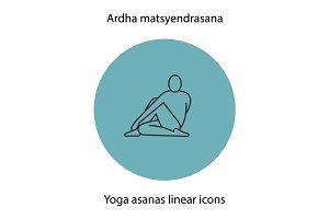 Ardha matsyendrasana yoga position. Linear icon