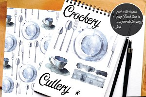 Crockery, cutlery, watercolor