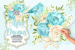 Watercolor AQUA DREAMS design