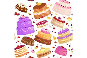 Vector cake icon set, Birthday food, sweet dessert, isolated illustration.