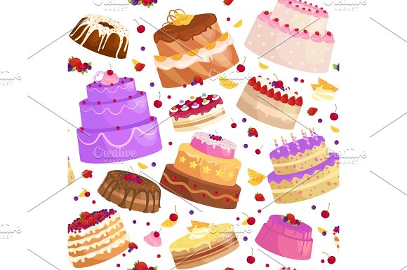Vector Cake Icon Set Birthday Food Sweet Dessert Isolated Illustration