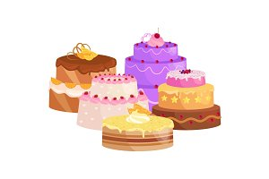 Confectioner cook chef cartoon character with cake. Vector illustrations set