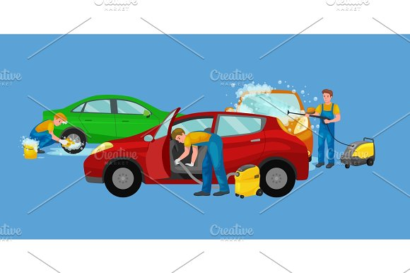 Car Wash Services Auto Cleaning With Water And Soap