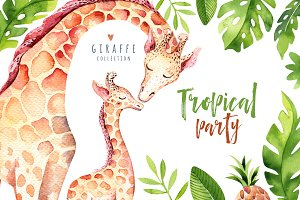 Giraffe collection. Tropical party