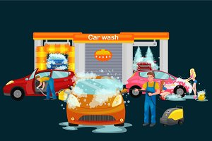 contactless car washing services, bikini model girl cleaning auto with soap and water, vehicle interior vacuum cleaner, isolated man drying automobile vector illustration
