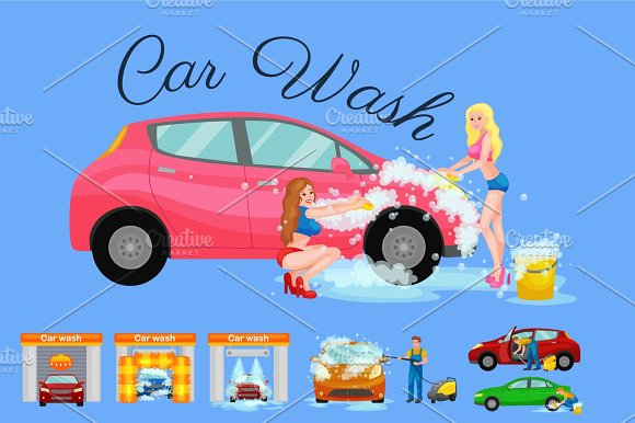 Contactless Car Washing Services Bikini Model Girl Cleaning Auto With Soap And Water Vehicle Interior Vacuum Cleaner Isolated Man Drying Automobile Vector Illustration