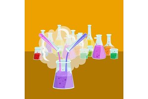 Chemistry education research laboratory equipment, science lab glass tube, vector