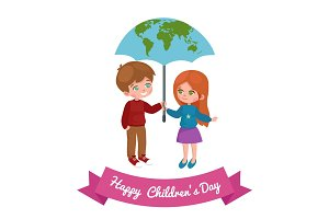 Vector illustration kids playing, greeting card happy childrens day background