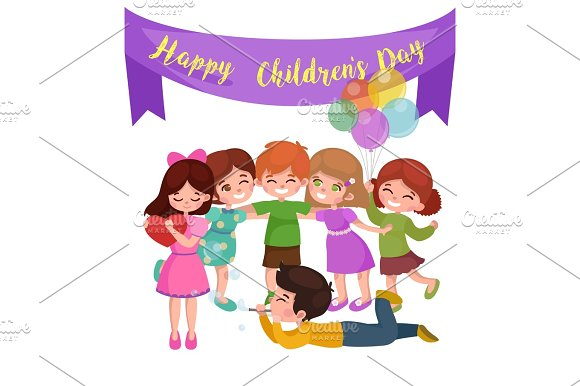 Cute Happy Childrens Day Have Fun At Party Kids Playing With Joy And Celebrate Holidays Girls Boys Are Friends Baby Hold Balloon Greeting Card Or Background Cartoon Vector Illustration