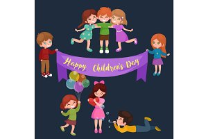 cute happy childrens day have fun at party, kids playing with joy and celebrate holidays, girls boys are friends, baby hold balloon greeting card or background cartoon vector illustration