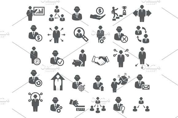 Business Icons Management Finance And Marketing