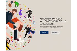 Couple dancing Kizomba in bright costumes. Vector illustration of partners dance bachata, happy peoples man and woman ballroom  poster, , roomba salsa latino dancer concept for , banner or flyer