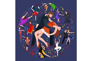 Vector illustration of couple dancing modern dance, Partners  bachata