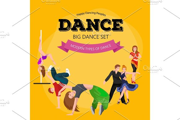 Dancing People Dancer Bachata Hiphop Salsa Indian Ballet Strip Rock And Roll Break Flamenco Tango Contemporary Belly Dance Pictogram Icon Style Of Design Concept Set