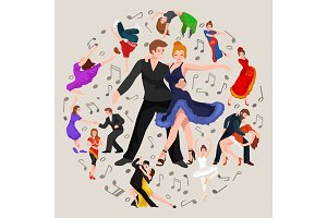 Happy Salsa dancers couple isolated on white icon pictogram, man and woman in dress dancing  with passion, people  ballroom vector illustration, young girl dancer  to the music