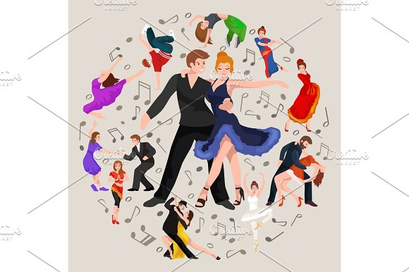 Happy Salsa Dancers Couple Isolated On White Icon Pictogram Man And Woman In Dress Dancing With Passion People Ballroom Vector Illustration Young Girl Dancer To The Music