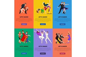Vector illustration of couple dancing modern dance, Partners  bachata,  style design concept set, traditional  flat icons isolated  , Man and woman ballroom .