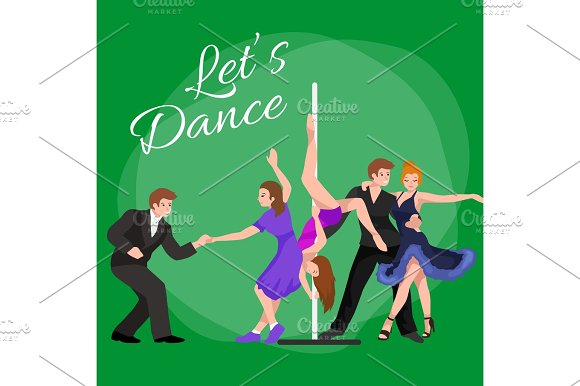 Vector Illustration Of Couple Dancing Modern Dance Partners Bachata Style Design Concept Set Traditional Flat Icons Isolated Man And Woman Ballroom