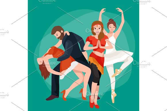 Group Of Dancing People Yong Happy Man And Woman Dance Together And In A Couple