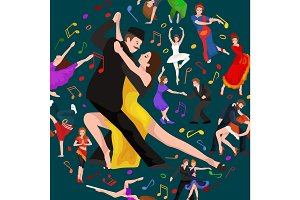 Yong couple man and woman dancing tango with passion, tango dancers vector illustration isolated