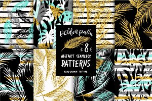 Golden Palm. 8 seamless patterns.