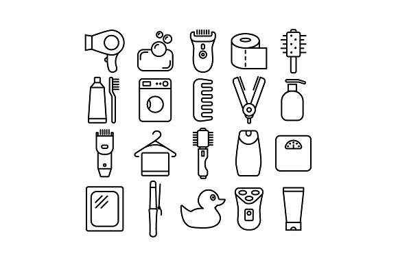 BATHROOM Vector Line Icons