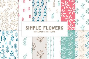Simple flowers pattern collection
