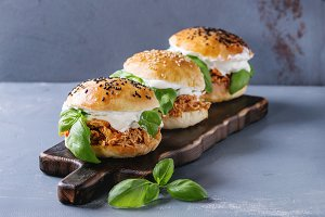 Homemade mini burgers with pulled chicken