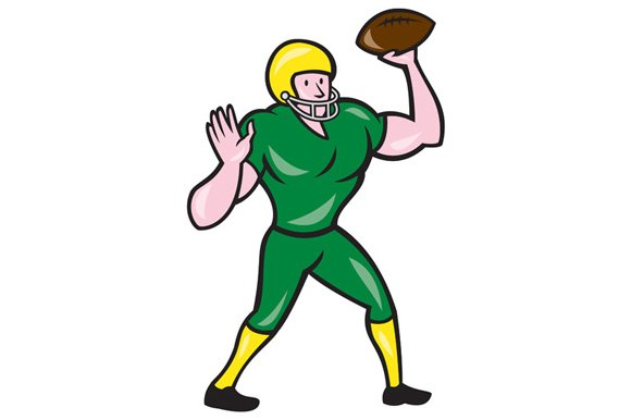 American Football QB Throwing Retro ~ Illustrations