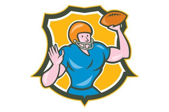 American Football QB Throwing Shield ~ Illustrations