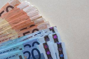 Euro (EUR) notes, European Union (EU) with copy space