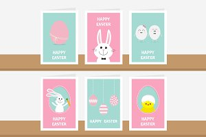 Happy Easter greeting card set