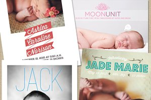 Birth Announcment Templates (4-pack)
