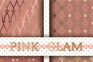 Set of 4 seamless Pink&Gold patterns