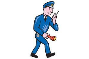 Policeman Torch Radio Cartoon