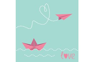 Paper boat and paper plane.