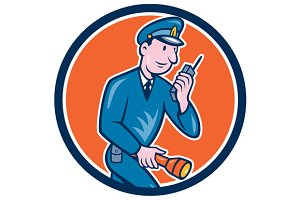 Policeman Torch Radio Circle Cartoon